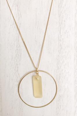 Yellow Sea Glass Brass Circle