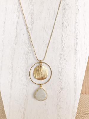Moonstone Drop & Brass