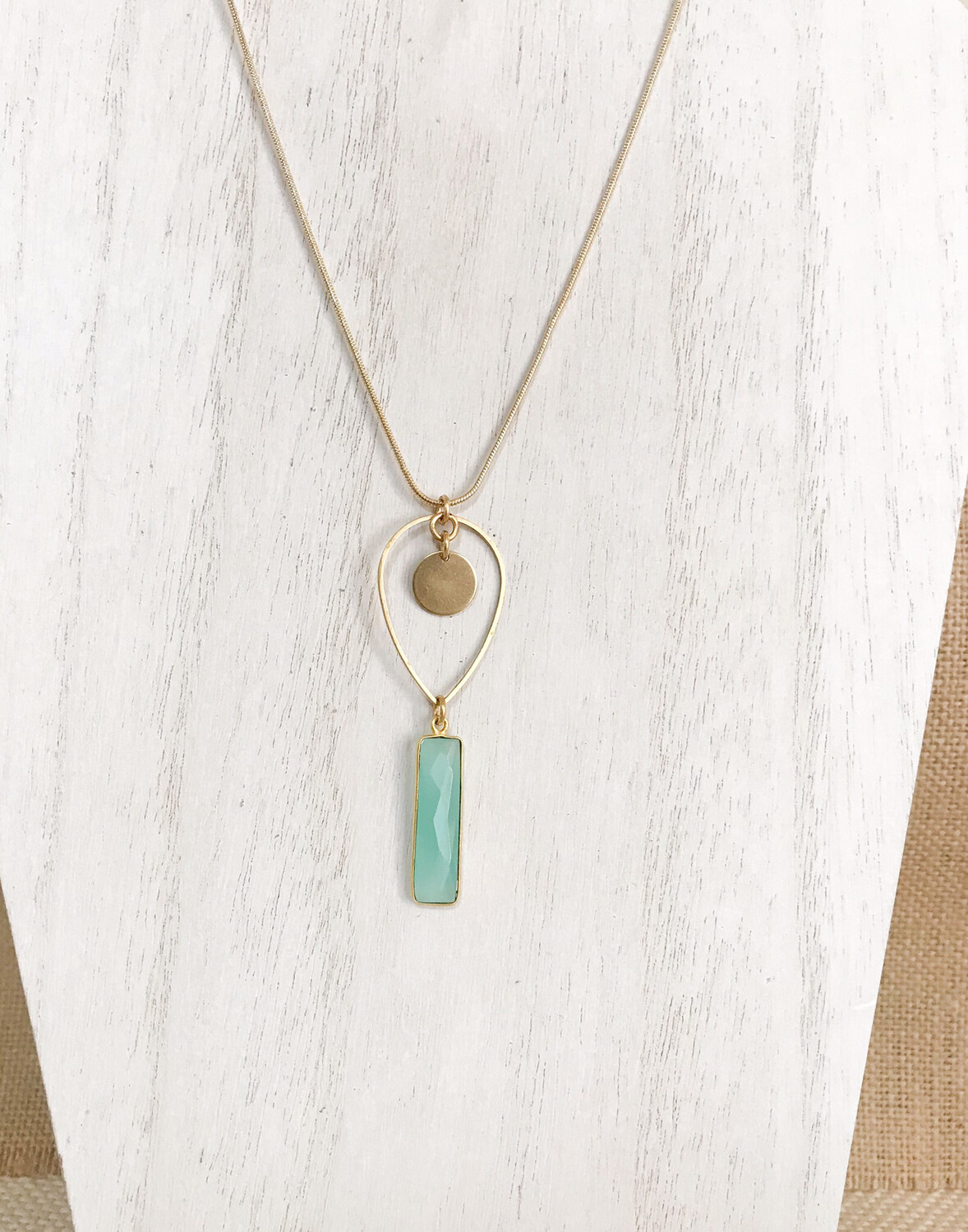 Aqua Chalcedony Rectangle & Brass