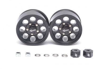 Boom Racing 1.55 Terra Classic 8-Hole Aluminum Beadlock Wheels w/ 3mm Wideners (2) Black BRW780906BK