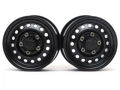 "Boom Racing 1.55"" 16-Hole Classic Steelie Reversible Beadlock Wheels (Rear) w/ XT504 Hubs Black BRW780955RBK"
