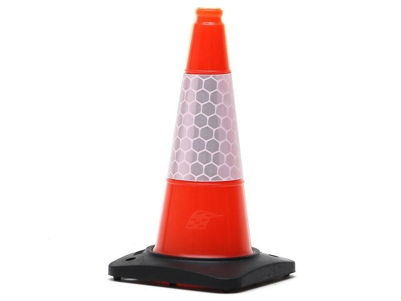 Boom Racing Rubber Traffic Cone w/ Reflective Decal Trail Marker / Track Accessory (4) Orange BRSCAC301/4OR