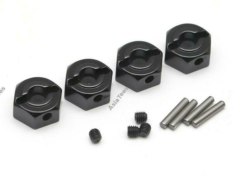 Boom Racing 12mm Standard Aluminum Wheel Hex Adaptors w/ Lock Screws Pins & Screws (4) Black BR113008BK