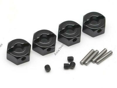 Boom Racing 12mm Standard Aluminum Wheel Hex Adaptors w/ Lock Screws Pins & Screws (4) Black BR113008BK