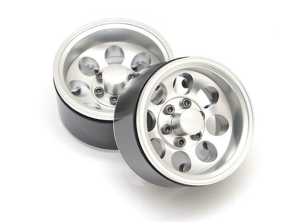 Boom Racing Terra 1.9 Classic 8-Hole Aluminum Deep Dish Beadlock Wheels w/ XT601 Hubs (2) Silver BRW780917S