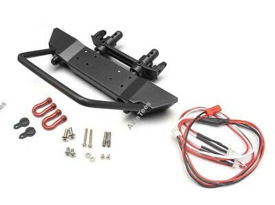 Team Raffee Co. Realistic Steel Front Bumper w/ LED & Towing Hooks 1 Set Black for Axial SCX10 - Flat Top BRQ90275CBK