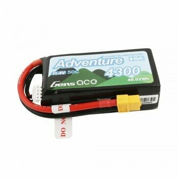 Gens Ace Adventure High Voltage 4300mAh 3S1P 11.4V 50C Lipo Battery with XT60 Plug GEA43003S50X6
