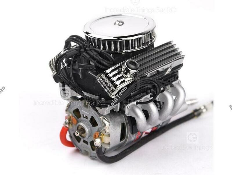 GRC 1/10 Vintage V8 Scale Engine w/ Radiator Motor Cooling Fan Air Filter GRC/GAX0142A