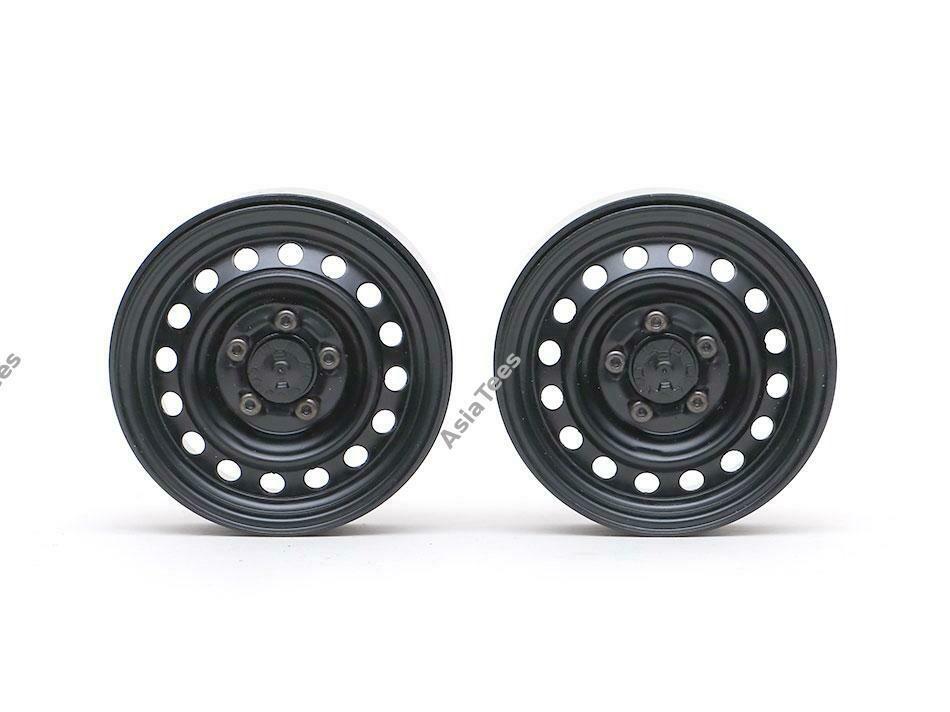 "Boom Racing 1.9"" 16-Hole Classic Steelie Reversible Beadlock Wheel w/ XT504 Hub Rear (2) Black"