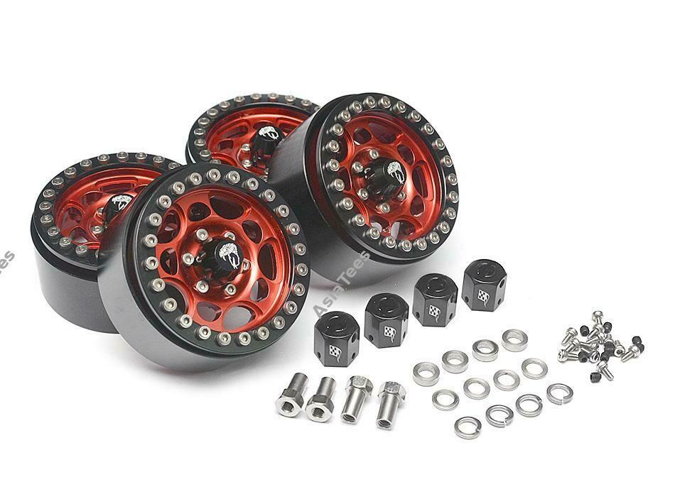 Boom Racing Sandstorm KRAIT™ 1.9 Aluminum Beadlock Wheels with 8mm Wideners (4) [Recon G6 Certified] Red BRW780901R