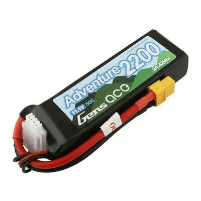 Gens Ace Adventure 2200mAh 3S1P 11.1V 50C Lipo Battery with XT60 Plug for RC Crawler GEA22003S50X6