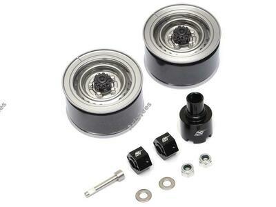 Boom Racing 1.55 Yota LC70 Stock Steelie Beadlock Wheels Front (2) Gun Metal BRW780908FGM