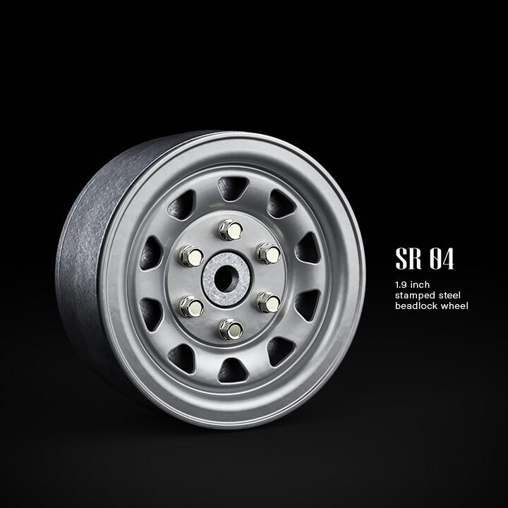 "Gmade 1.9"" SR04 1/10 Scale Crawler Beadlock Wheels (Semigloss Silver) (2) GMA70492"