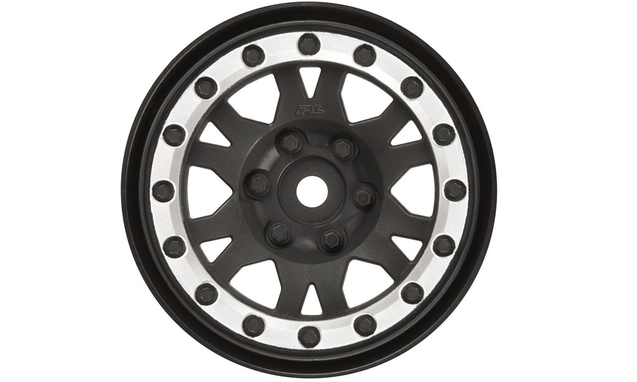 "Proline Impulse 1.9"" Black/Silver Plastic Internal Bead-Loc Wheels, for Rock Crawlers, Front/Rear"
