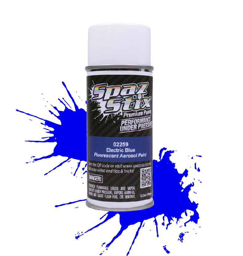 Spaz Stix Electric Blue Fluorescent Aerosol Paint, 3.5oz Can SZX02259