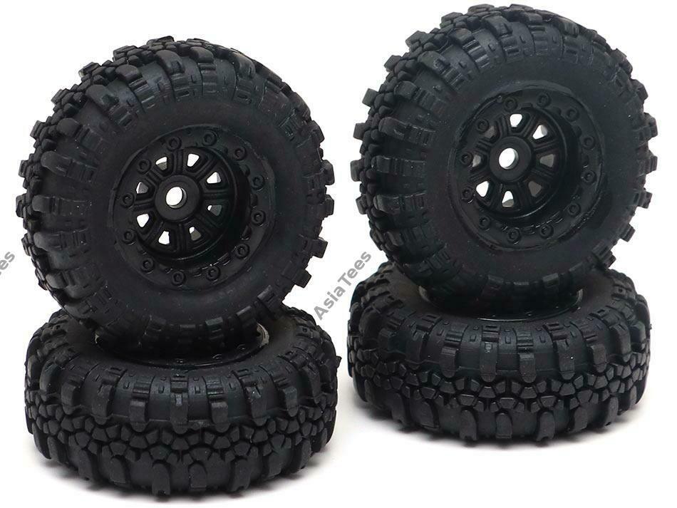 RGT Swamper Tire & Wheel Set (4pcs) Black for ECX Barrage/ FTX Outback/ RGT Adventurer for 1/24 ADVENTURER 13612