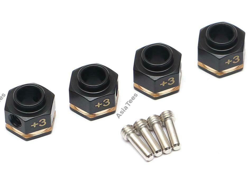 Team Raffee Co. Brass +3MM Offset Wheel Hex Adapter for TRX4 (4)