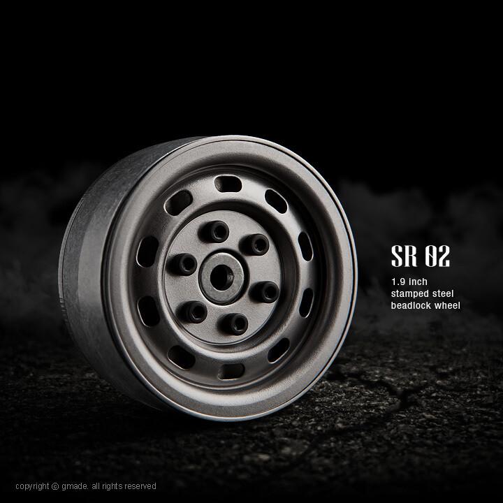 Gmade 1.9 SR02 Beadlock Wheels (Uncoated Steel) (2) GMA70177