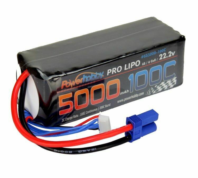 PowerHobby 5000mAh 22.2V 6S 100C LiPo Battery w/ EC5 Connector