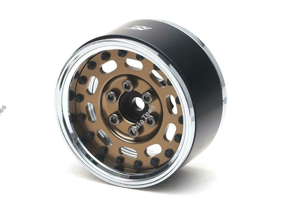 "Boom Racing ProBuild™ 1.9"" MAG-10 Adjustable Offset Aluminum Beadlock Wheels (2) Chrome/Bronze BRPB002CRBZ"