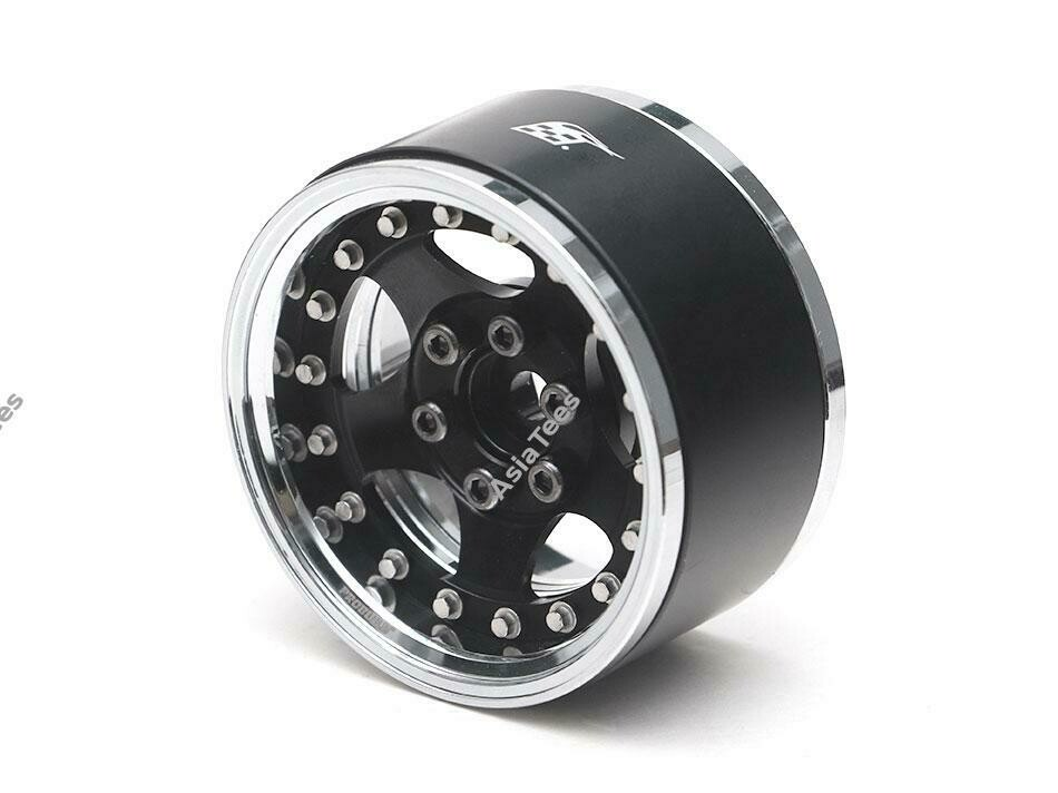 "Boom Racing ProBuild 1.9"" SV5 Adjustable Offset Aluminum Beadlock Wheels (2) Chrome/Black BRPB003CRBK"