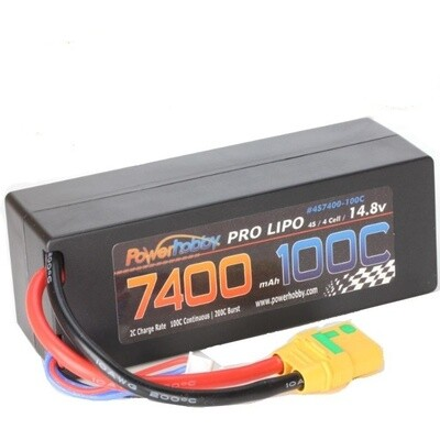 PowerHobby 4S 14.8V 7400MAH 100C Hard Case Lipo Battery, w/ XT90 Plug