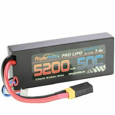 PowerHobby 5200mAh 7.4V 2S 50C LiPo Battery with Hardwired XT60 Connector w/HC Adapter