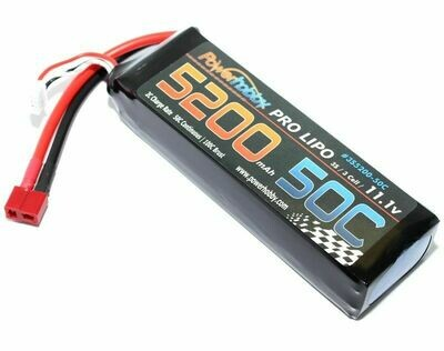 PowerHobby 5200mAh 11.1V 3S 50C LiPo Battery w/ Hardwired T-Plug