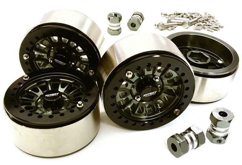 Integy 1.9 Size Machined High Mass Wheel (4) w/14mm Offset Hubs for 1/10 Scale Crawler C27029GUN