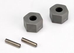 Traxxas Wheel hubs, hex (tall offset, Rustler®/Stampede® front) (2)/ axle pins (2.5x10mm) (2) 3654