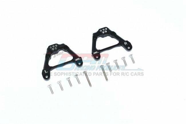 GPM Racing Aluminium Adjustable Rear Damper Mount - 12Pcs Set Black for Axial SCX10 III SCX3030BK
