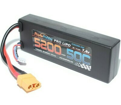 PowerHobby 5200 mAh 7.4V 2S 50C LiPo Battery w/ Hardwired XT90 Connector