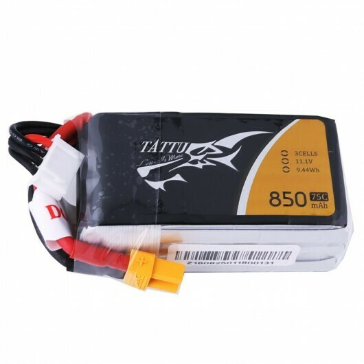 Tattu 11.1V 75C 3S 850mAh Lipo Battery Pack with XT60 Plug TA-75C-850-3S1P-XT60