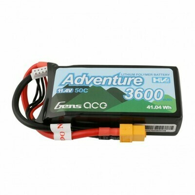 Gens Ace Adventure High Voltage 3600mAh 3S1P 11.4V 50C Lipo Battery with XT60 Plug GEA36003S50X6
