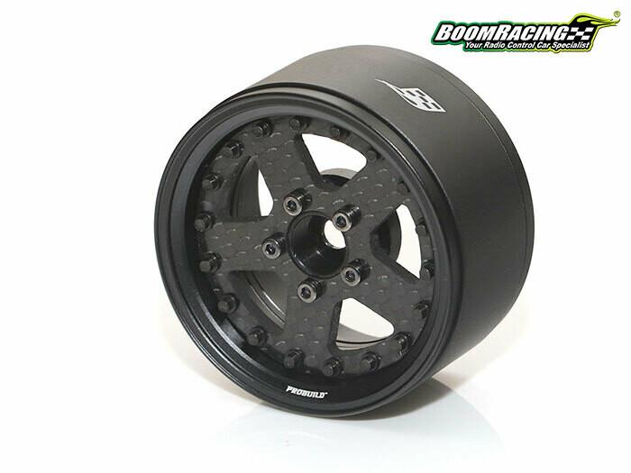 """Boom Racing ProBuild™ 1.9"""" CF5 Adjustable Offset Aluminum Beadlock Wheels (2) Matte Black/Carbon Fiber BRPB009MBKCF"""