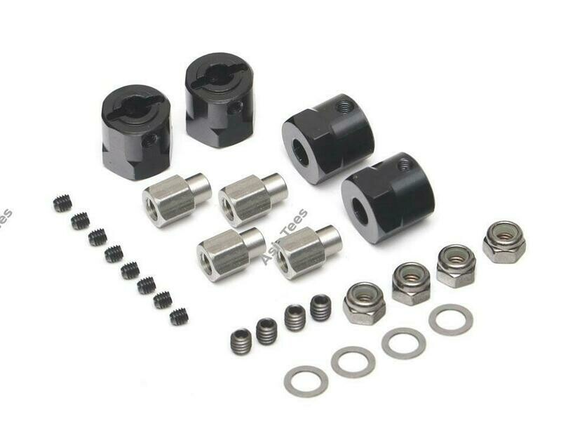 Boom Racing Aluminum 12mm Wheel Hex Widener (4) (Offset: 12mm) Black BRW780924-12MMBK