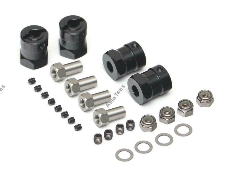 Boom Racing Aluminum 12mm Wheel Hex Widener (4) (Offset: 15mm) Black BRW780924-15MMBK