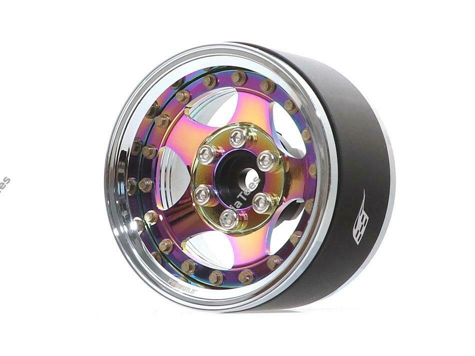 "Boom Racing ProBuild™ 1.9"" SV5 Adjustable Offset Aluminum Beadlock Wheels (2) Chrome/Neo Chrome BRPB008CRNEO"