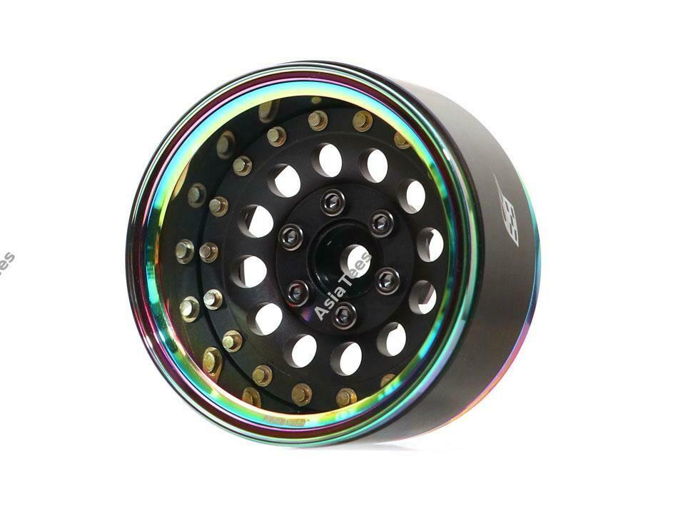 "Boom Racing ProBuild™ 1.9"" R12 Adjustable Offset Aluminum Beadlock Wheels (2) Neo Chrome/Matte Black BRPB017NEOMBK"