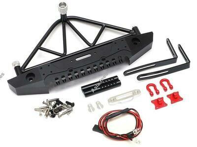 Team Raffee Co. Steel Tough Rear Bumper W/ Shackles Led Light & Spare Tire Mount Black TRC/302248BK
