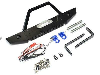 Team Raffee Co. Steel Tough Front Stubby Bumper W/ Hooks and Led Light 1 Set Black TRC/302245BK