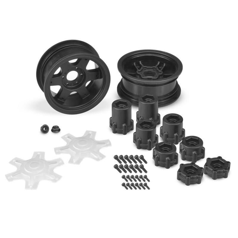 """Jconcepts Dragon 2.6"""" Mega Truck Wheel, w/ Adaptors, and Discs, Black, (2pcs) JCO3379B"""