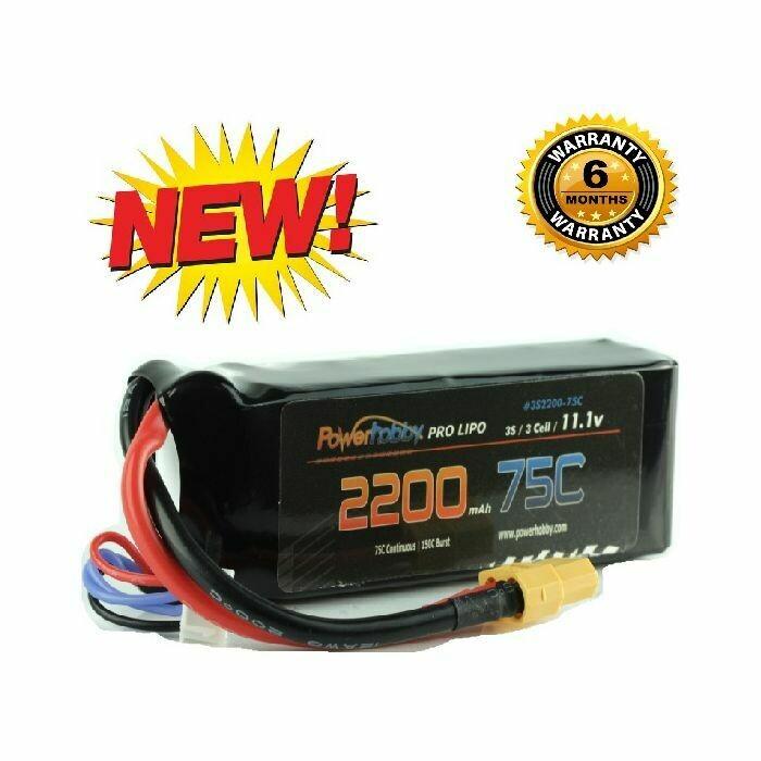 Powerhobby 3S 11.1V 2200mAh 75C Lipo Battery Pack w XT60 Plug 3-Cell  PH-3s-2200mah-75c-XT60