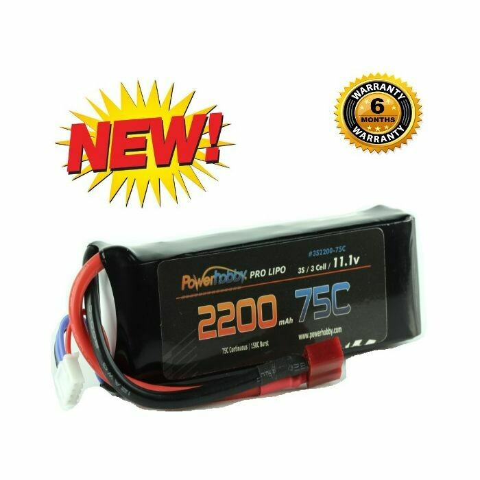 Powerhobby 3S 11.1V 2200mAh 75C Lipo Battery Pack w Deans Plug 3-Cell PH-3s-2200mah-75c-Deans