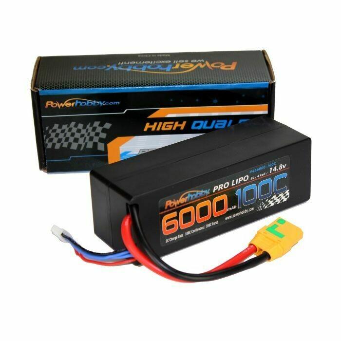 Powerhobby 4s 14.8v 6000mah 100c Lipo Battery w XT90 Plug Hard Case 4-cell PH-4S-6000mah-100c-XT90-HC
