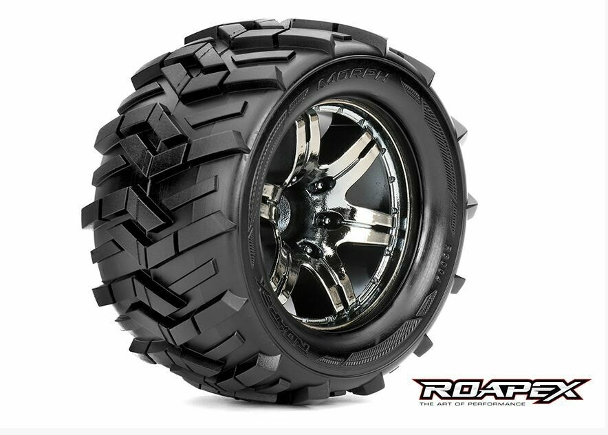 Roapex Morph 1/10 Monster Truck Tires, Mounted on Chrome Black Wheels, 1/2 Offset, 12mm Hex (1 pair) ROPR3004-CB2