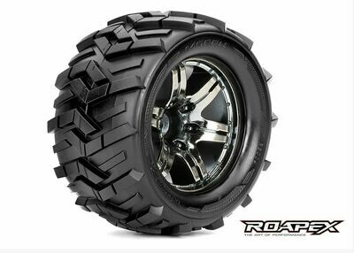 Roapex Morph 1/10 Monster Truck Tires, Mounted on Chrome Black Wheels, 1/2 Offset, 12mm Hex (1 pair) ROPR3004-CB2
