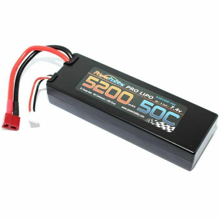 PowerHobby 2S 7.4V 5200mAh 50C Lipo Battery Pack w Deans Plug Hard Case