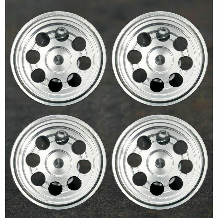 """Powerhobby F72 1.0"""" Aluminum Beadlock Wheels (4) Axial SCX24 1/24 Crawler Silver"""