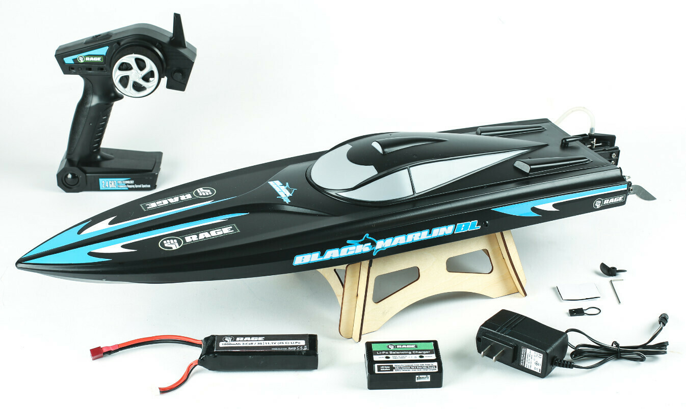 Rage R/C Black Marlin Brushless RTR Boat RGRB1205